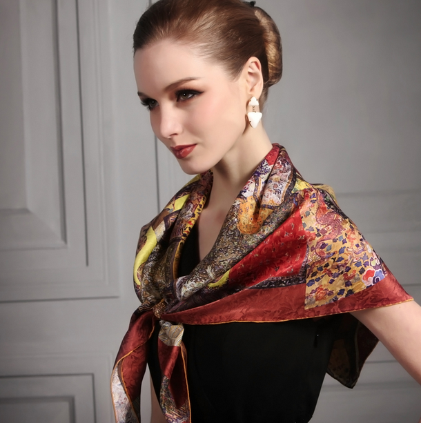 Silk scarf makes elegant women