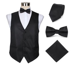 Custom mens Formal polyester wedding party hotel vest set