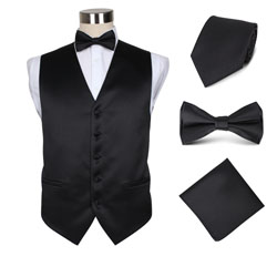 fashion men's black party wedding hotel vest set