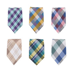 New style plaid polyester ties for young men