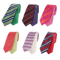 High-end silk striped reversible tie