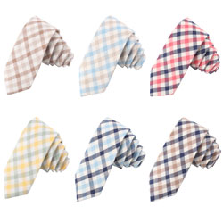 New casual plaid cotton linen ties