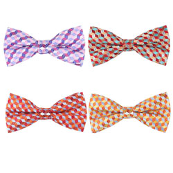 Colorized plaid polyester woven bow tie