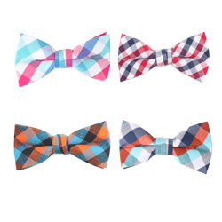 New style colorized cotton plaid bow tie