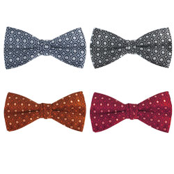 Fashion high-end silk bow tie with circular design
