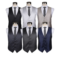 Custom Fashion Mens striped polyester business Waistcoat