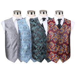 Custom fancy men's polyester paisley wedding party waistcoat