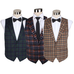 Custom new style men's wool checked casual waistcoat