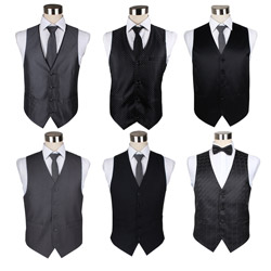 Custom Mens formal black business Polyester suit vest