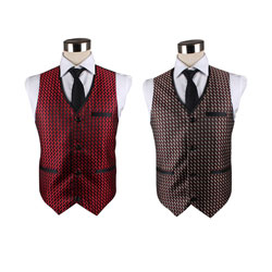 Fancy colorful grid casual waistcoat for men