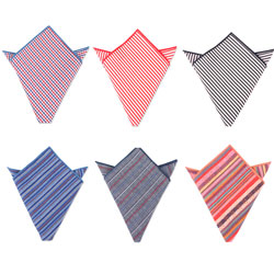 Fashion custom men's woven striped cotton pocket square