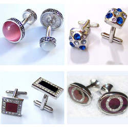 Factory Custom men's metal cufflinks with gem