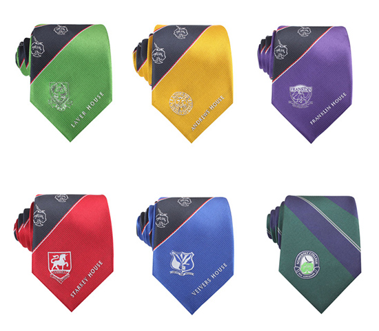 New style Men's Polyester Necktie Custom School Logo Woven Handmade ties