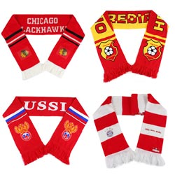 Latest style custom club sport knitted 100% acrylic football scarf