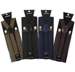 Zhejiang Wholesale Custom Black Yellow Plain Elastic 3 Clips Suspenders for Men
