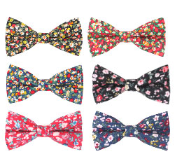 High Quality Adjustable 100% Cotton Printed Fabric Floral Bow Tie