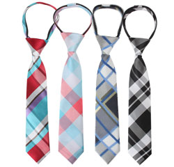 Primary School Uniform Designs Men Polyester Woven Plaid Zipper Ties