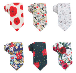 Custom Personalized Print Floral Designer Skinny Cotton Neck Tie for Men
