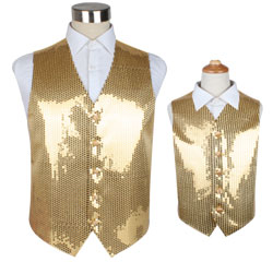 Chinese Supplier Colorful Dance Unisex Party Dress Sequin Children Waistcoat Vest for Men