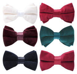 Wholesale High-grade Cheap Colorful Plain Bowtie Mens Velvet Bow Ties
