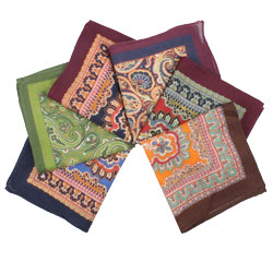 Wholesale Hand Rolled Paisley Handkerchief Cheap Wool Pocket Square for Men