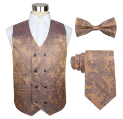 Slimming 100 Polyester Paisley Double Breasted Wedding Waistcoat Set