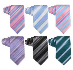 Create Your Own Design Striped Light Blue Polyester Wedding Ties Online