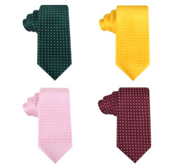 Wholesale Woven Logo Neckties Men's Microfiber Polyester Polka Dot Tie