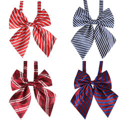Wholesale School Supply Adjustable Anime Cosplay Polyester Striped Bow Ties For Girls