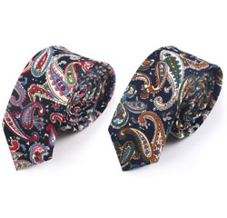 Wholesale Custom 100% Cotton Fabric Elegant Printed Paisley Floral Men Necktie
