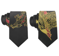 Chinese Embroidered Phoenix Dragon Pattern Tie Polyester Men Necktie