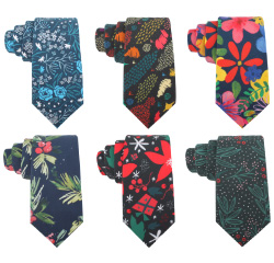 High Quality Handmade Flowers Neck Ties Cotton Print Floral Neckties for Men