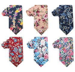 New Fashion Wedding Printing Cotton Groom Neck Tie Floral Skinny Cotton Ties for Men