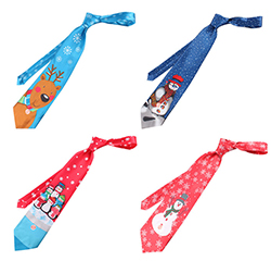 Custom Colorful Cute Printed Polyester Kids Christmas Musical Ties With Led Light