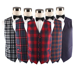Custom Fashion V-neck Cotton Plaid Waistcoat Vest For men