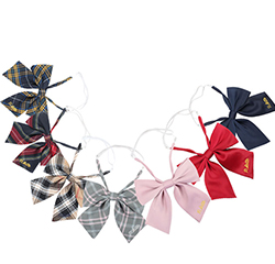 Custom Fashion 100% Polyester School Girl Butterfly Bow Tie With Jacquard Logo