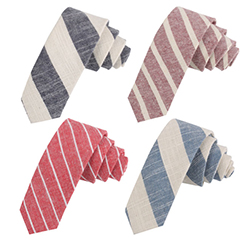 Professional Tie Suppliers Wholesale Striped Cotton & Linen Necktie For Men