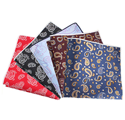 Hot Sale Custom Flower Design Paisley Polyester Pocket Squares For Men