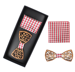 Custom Men Fashion Wooden Bow Tie And Plaid Pocket Square Sets With Box Packing