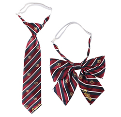 Custom 100% Polyester School Logo Design Striped Elastic Tie And Butterfly Bow Tie Set