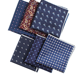 Hot Selling Various Design Handkerchief Polyester Jacquard Hand Rolled Pocket Squares for Men